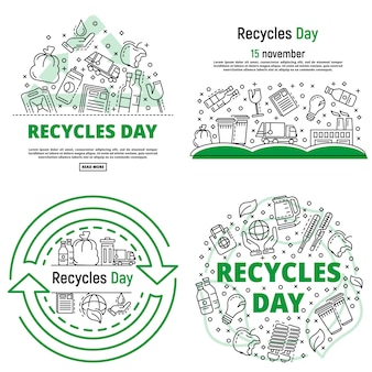 Recicla dia banner conjunto. conjunto de contorno de reciclar banner de vetor dia