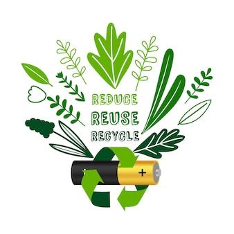 Reciclagem da bateria. equipamentos eletrônicos reduzem a reutilização de conceito de reciclagem, lixo eletrônico de baterias recicladas ou ilustração vetorial de pôster de lixo eletrônico