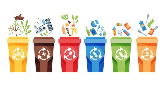 Reciclagem de coleta de lixo. recipientes plásticos para lixo de diferentes tipos.