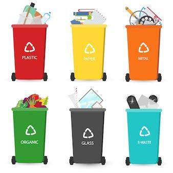 Reciclagem de lixeiras de elementos de lixo. diferentes tipos de latas de lixo.