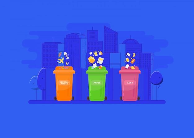 Reciclagem de lixo e conceito de utilização.