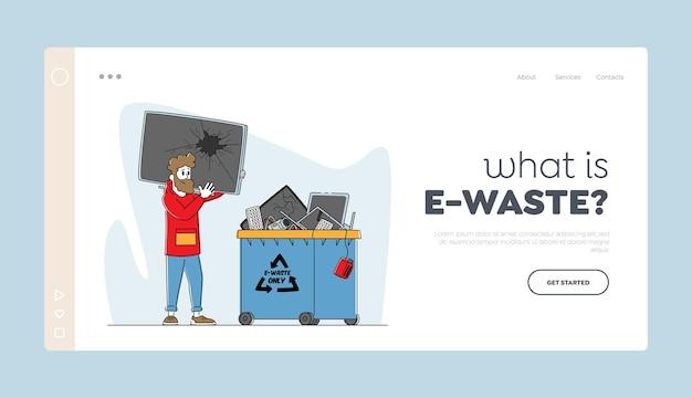 Reciclagem de lixo eletrônico, modelo de página de destino de proteção da natureza.