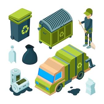 Reciclagem de lixo isométrica. cidade serviço de limpeza caminhão urbano incinerador utilitário bin com coleção 3d de resíduos