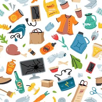 Reciclagem de lixo padrão uniforme com itens de lixo