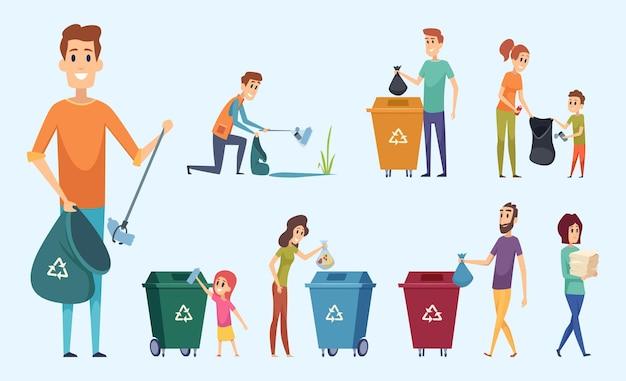 Reciclagem de lixo. pessoas separando resíduos protegem os personagens do processo de separação de lixo do ambiente.