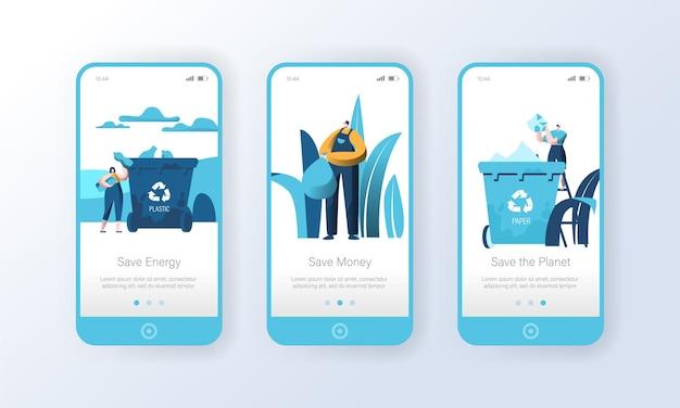 Reciclagem de lixo plástico lixo página do aplicativo móvel conjunto de tela a bordo.