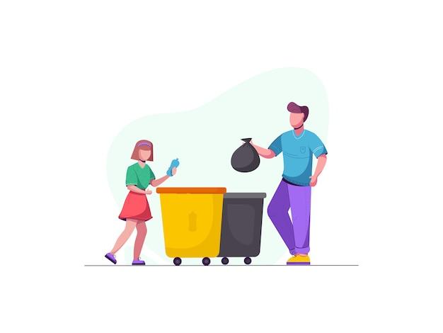 Reciclagem de lixo. processo de classificação de lixo. problemas ambientais