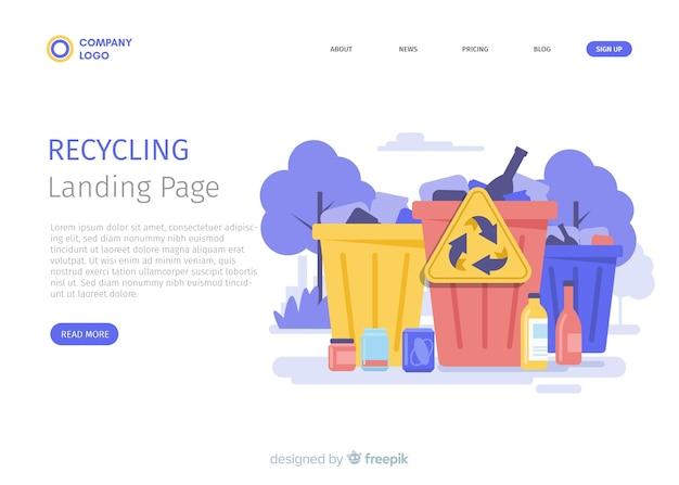 Reciclagem de modelo de página de destino de lixo