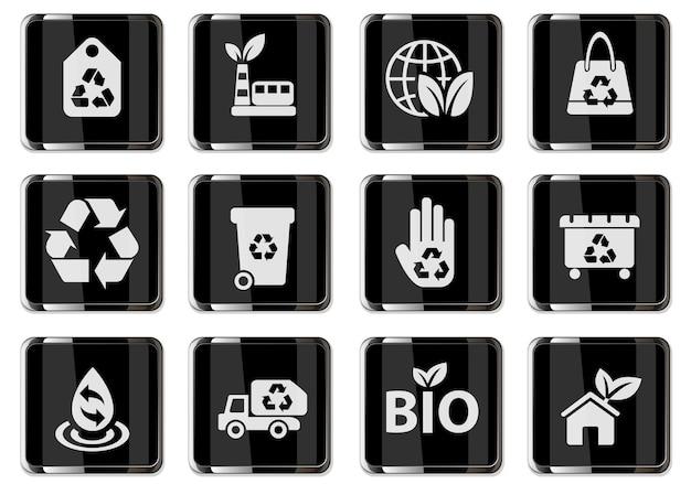 Reciclagem de pictogramas em botões cromados pretos. conjunto de ícones para design de interface de usuário