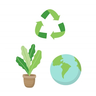 Reciclagem de sinal, uma planta e um planeta terra. ilustração do conceito ecológico definido no estilo cartoon