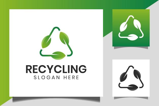 Reciclagem de triângulo com folha verde, logotipo de ecologia de reciclagem ou design de ícone