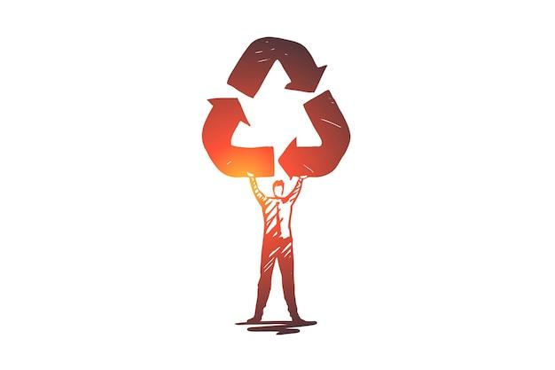 Reciclagem, ecologia, reutilização, seta, conceito de meio ambiente. símbolo desenhado de mão de reciclagem no esboço de conceito da mão do homem.