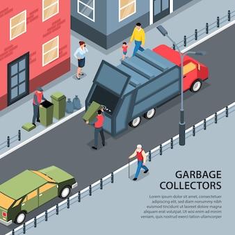 Reciclagem isométrica de resíduos de lixo com vista da rua ao ar livre com pessoas e caminhão