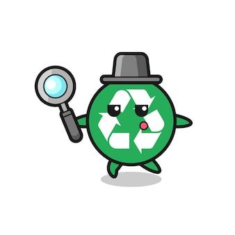 Reciclando personagem de desenho animado pesquisando com uma lupa, design fofo