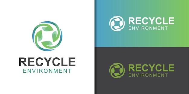 Reciclar com logotipo de folha para ecologia e dia de cuidado com a terra