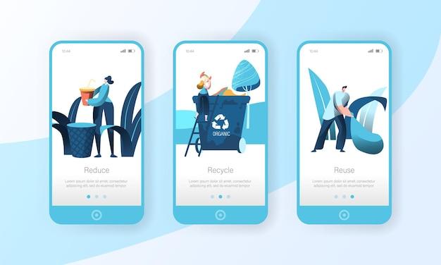 Reciclar lixo, lixeira, página do aplicativo móvel conjunto de tela a bordo.