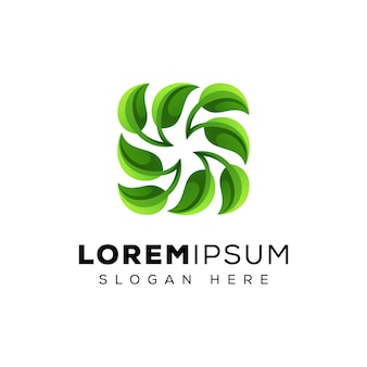 Reciclar logotipo de folha, logotipo de folha verde, modelo de vetor de logotipo de folha fresca