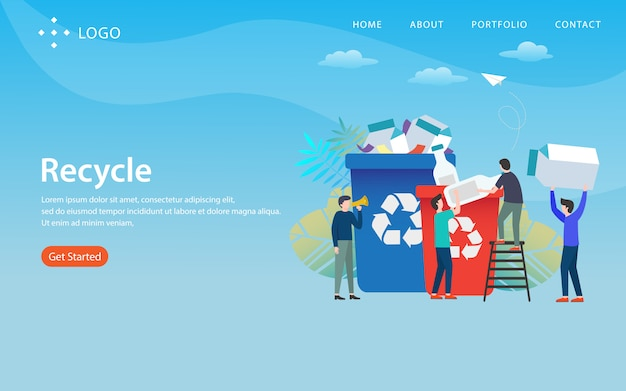 Reciclar, modelo de site, em camadas, fácil de editar e personalizar, conceito de ilustração