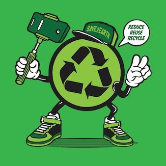 Reciclar o símbolo logotipo selfie personagem