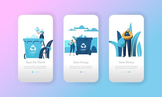 Reciclar papel lixo lixeira página do aplicativo móvel conjunto de tela a bordo.