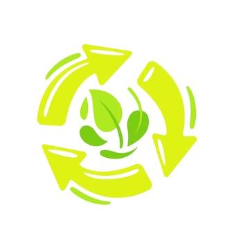Reciclar, símbolo biodegradável com setas verdes giratórias e folhas de árvore. plástico reciclável compostável