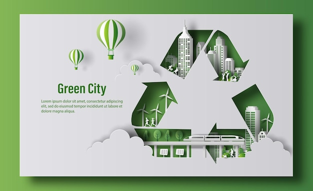 Reciclar símbolo com cidade verde em estilo de jornal