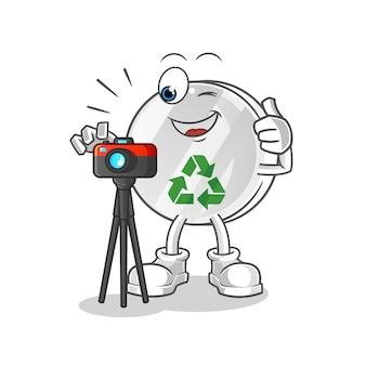 Reciclar sinal de ilustração de personagem fotógrafo