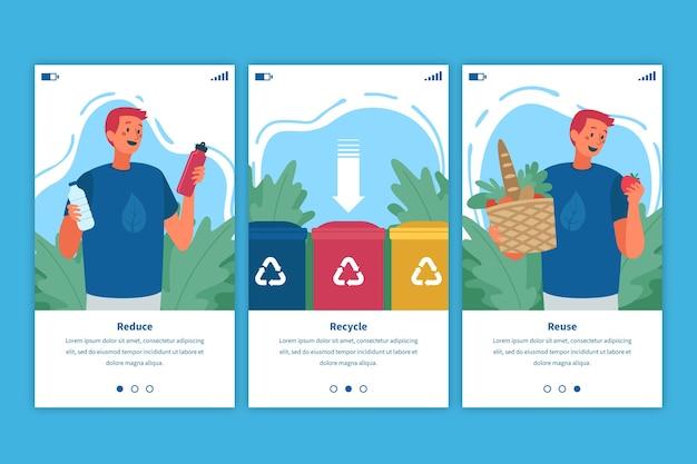 Reciclar telas de aplicativos integradas com o homem
