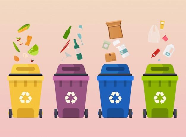 Recicle latas de lixo. reciclagem de segregação de tipos de resíduos: orgânico, papel, resíduos de vidro.