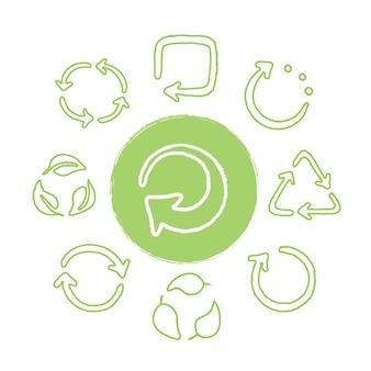 Recicle o conjunto de ícones verdes desenhados à mão. reutilizando símbolos