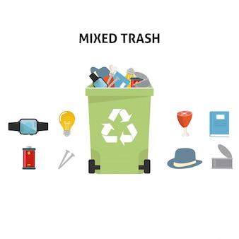 Recicle o conjunto de ilustração de lixo misto