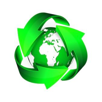 Recicle setas e terra verde.