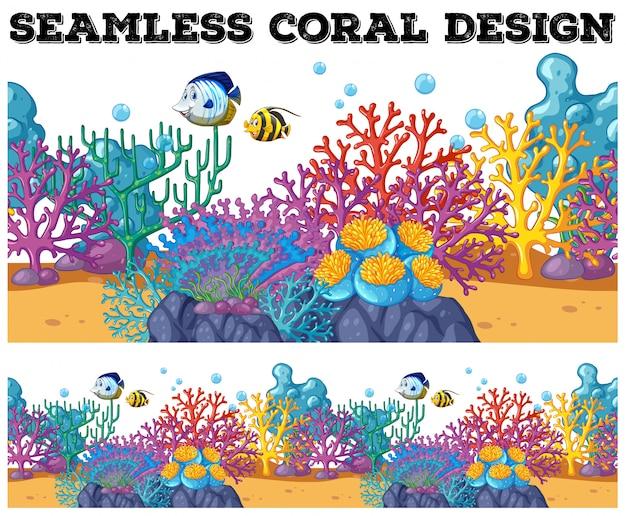 Recife de coral sem costura sob o oceano