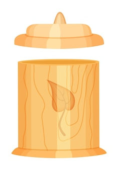 Recipiente a granel de madeira com tampa, design ecológico, concepção zero de resíduos, vida verde, reutilizável, materiais orgânicos