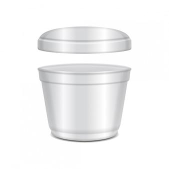 Recipiente aberto de plástico branco redondo com tampa. tigela de sopa ou para laticínios, iogurte, creme, sobremesa, geléia. modelo de embalagem