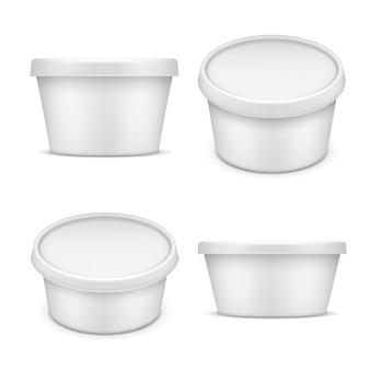 Recipiente arredondado. embalagem plástica branca. caixa de soro de leite coalhado e margarina isolada na ilustração branca