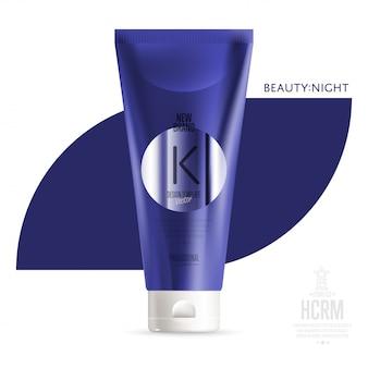 Recipiente azul realista de gel de banho cosmético