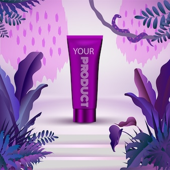 Recipiente cosmético com folhas tropicais de selva