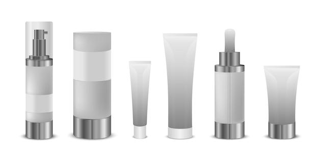 Recipiente cosmético em branco 3d. conjunto de frascos cosméticos brancos e realistas