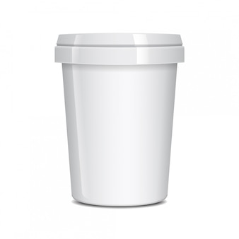 Recipiente de alimento branco para fast-food, sobremesa, sorvete, iogurte ou lanche.
