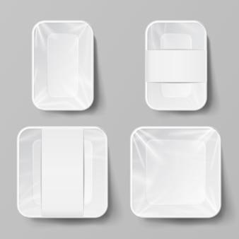 Recipiente de alimento de plástico branco em branco