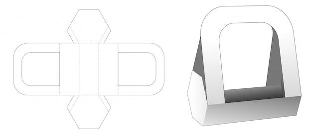 Recipiente de alimento hexagonal de papelão com alças modelo de corte