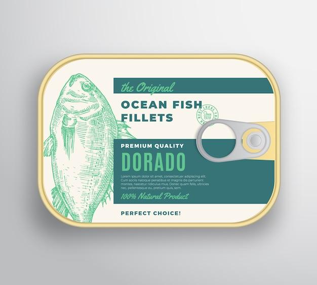 Recipiente de alumínio de filetes de peixe oceano abstrato com tampa da etiqueta.