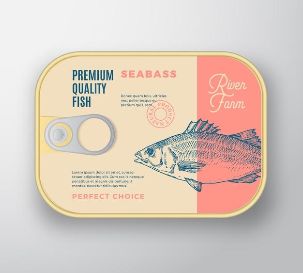 Recipiente de alumínio de peixe abstrato com tampa da etiqueta. embalagem enlatada premium retro.