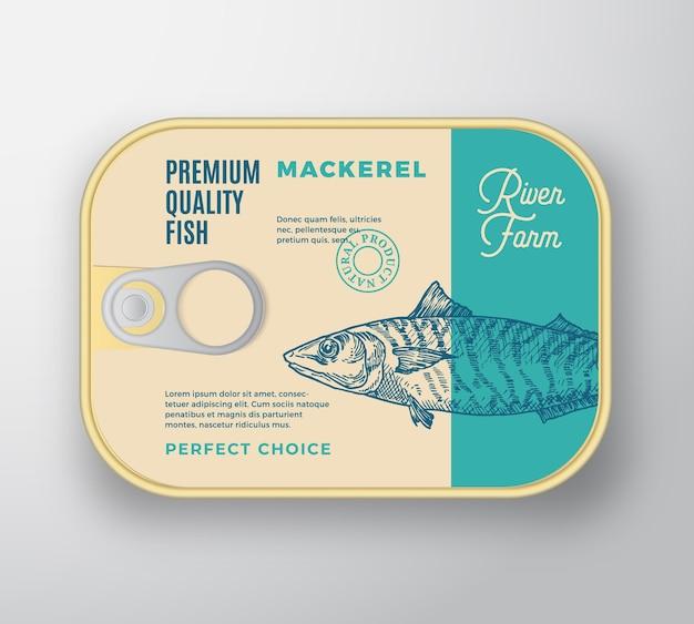 Recipiente de alumínio de peixe abstrato com tampa da etiqueta.
