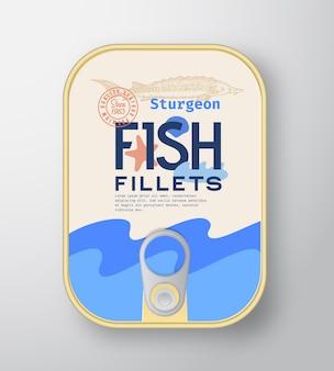 Recipiente de alumínio para filés de peixe com tampa de etiqueta