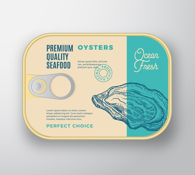 Recipiente de alumínio para frutos do mar premium com tampa de etiqueta.