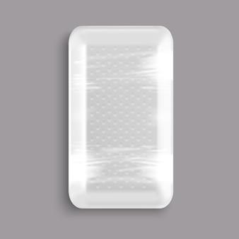 Recipiente de bandeja de comida de plástico branco em branco embrulhado