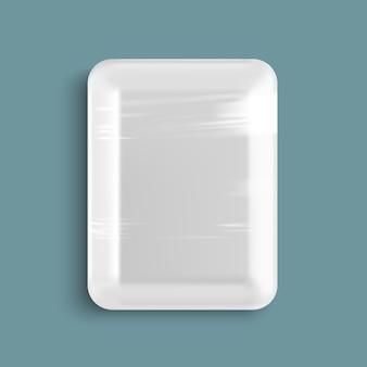 Recipiente de bandeja de comida de plástico branco vazio embrulhado