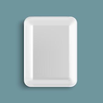 Recipiente de bandeja de comida de plástico branco vazio